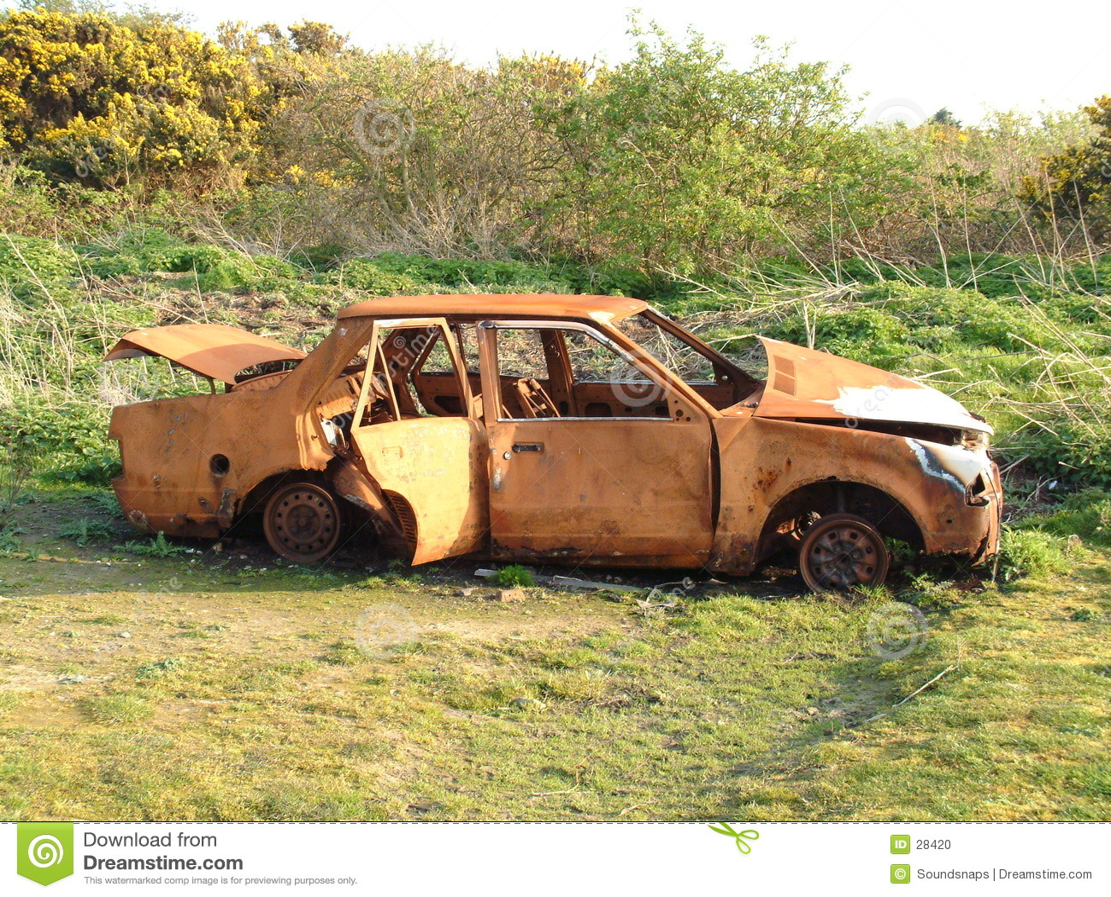 abandoned burnt car