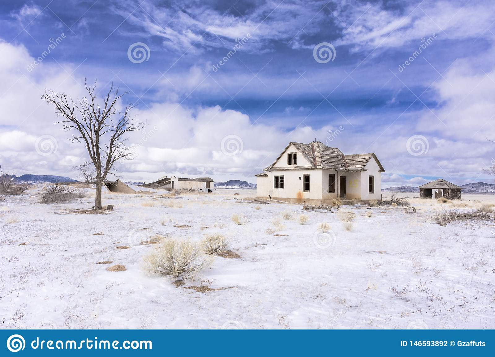 Abandoned colorado homestead in winter with snow
