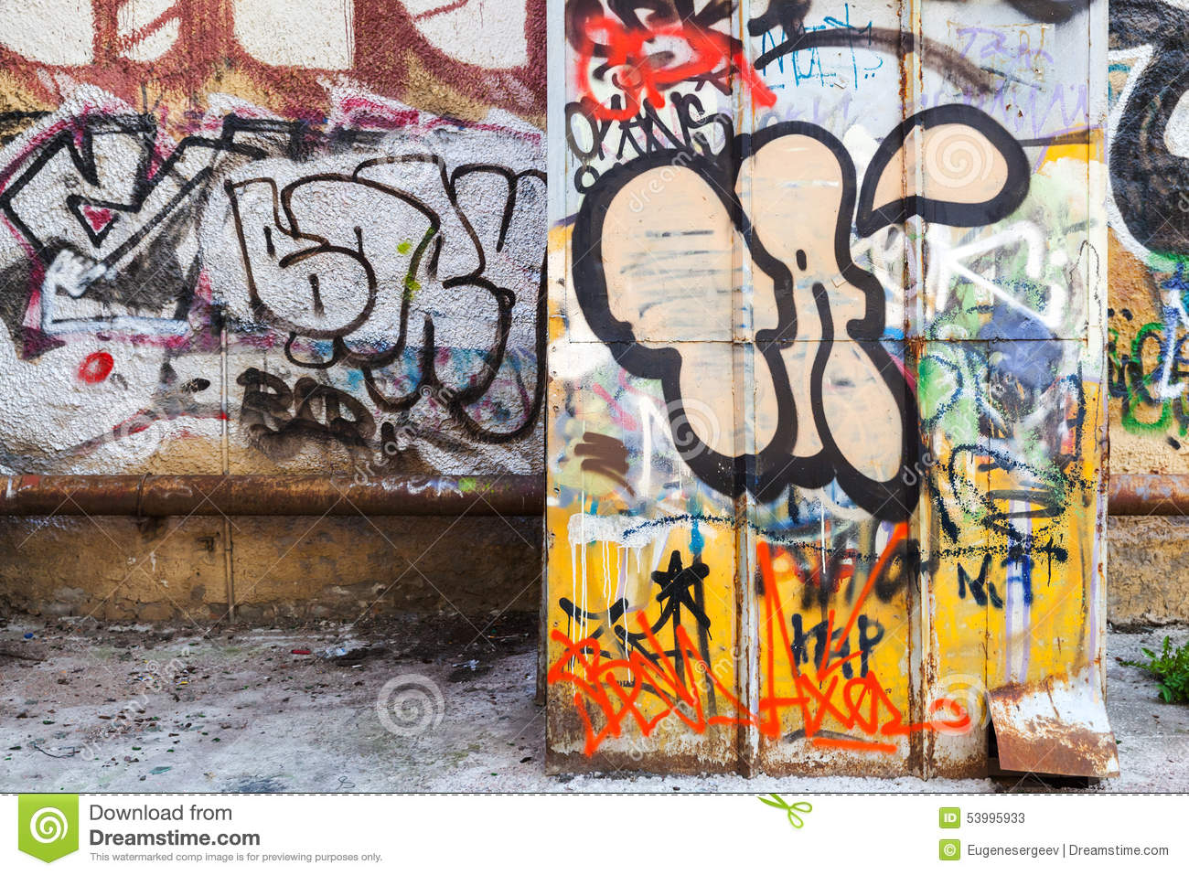 Abandoned Courtyard Interior With Colorful Graffiti Editorial Stock