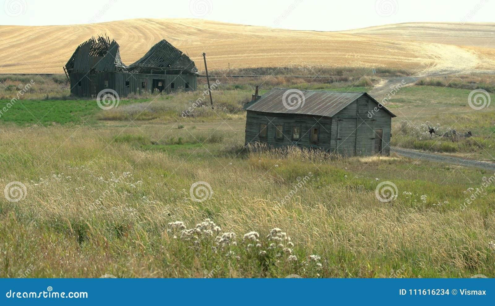 Abandoned Farm Buildings Palouse Washington State 4k Uhd