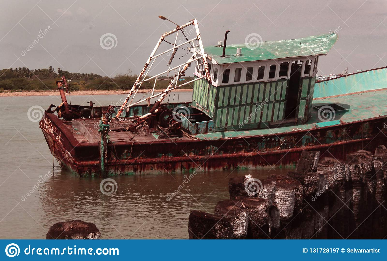 Abandoned Fisherman Boat On A Indian Small Harbor Stock Image Image Of Dilapidated Sailing 131728197