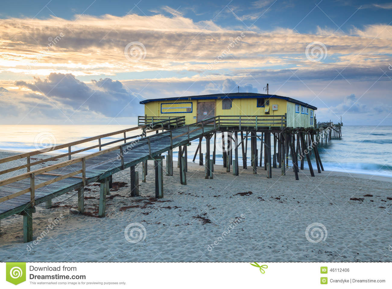 Abandoned fishing pier outer banks north carolina stock for Fishing outer banks nc