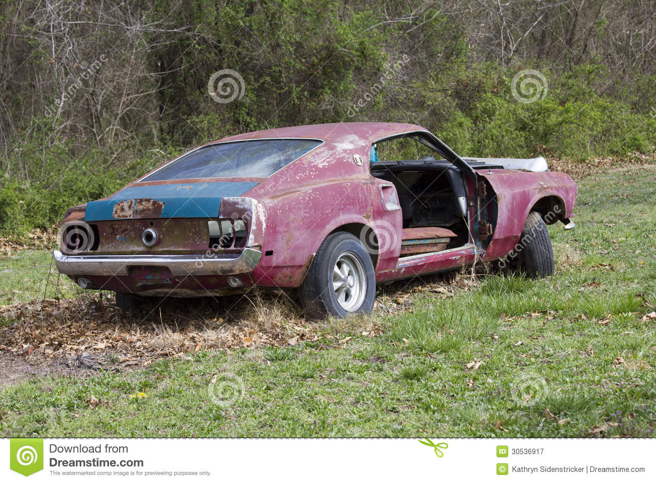 Abandoned 1969 ford mustang fastback royalty free stock photography