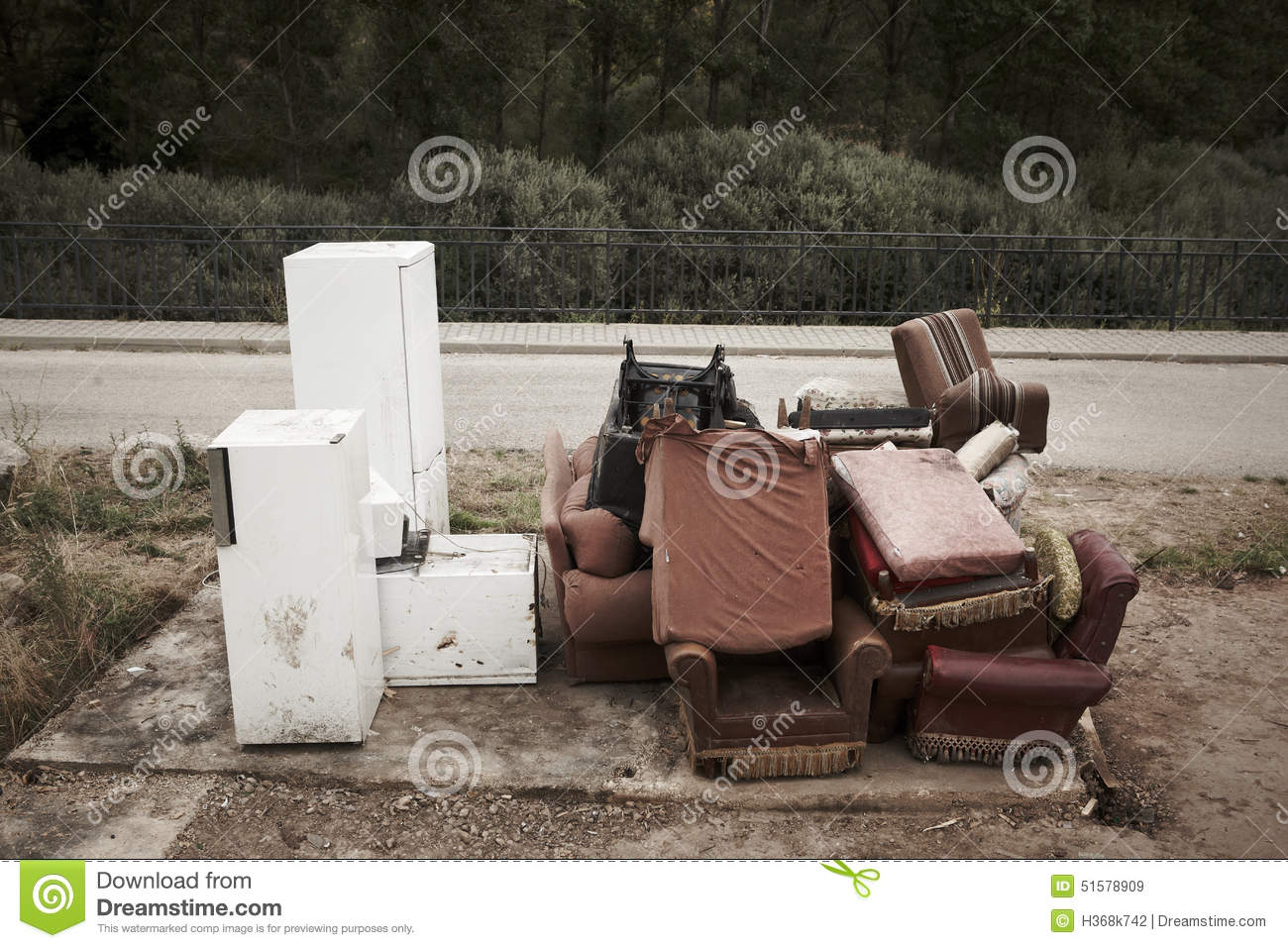 Abandoned Furniture And Fridges In The Street And Forest Stock  # Muebles Lafayet