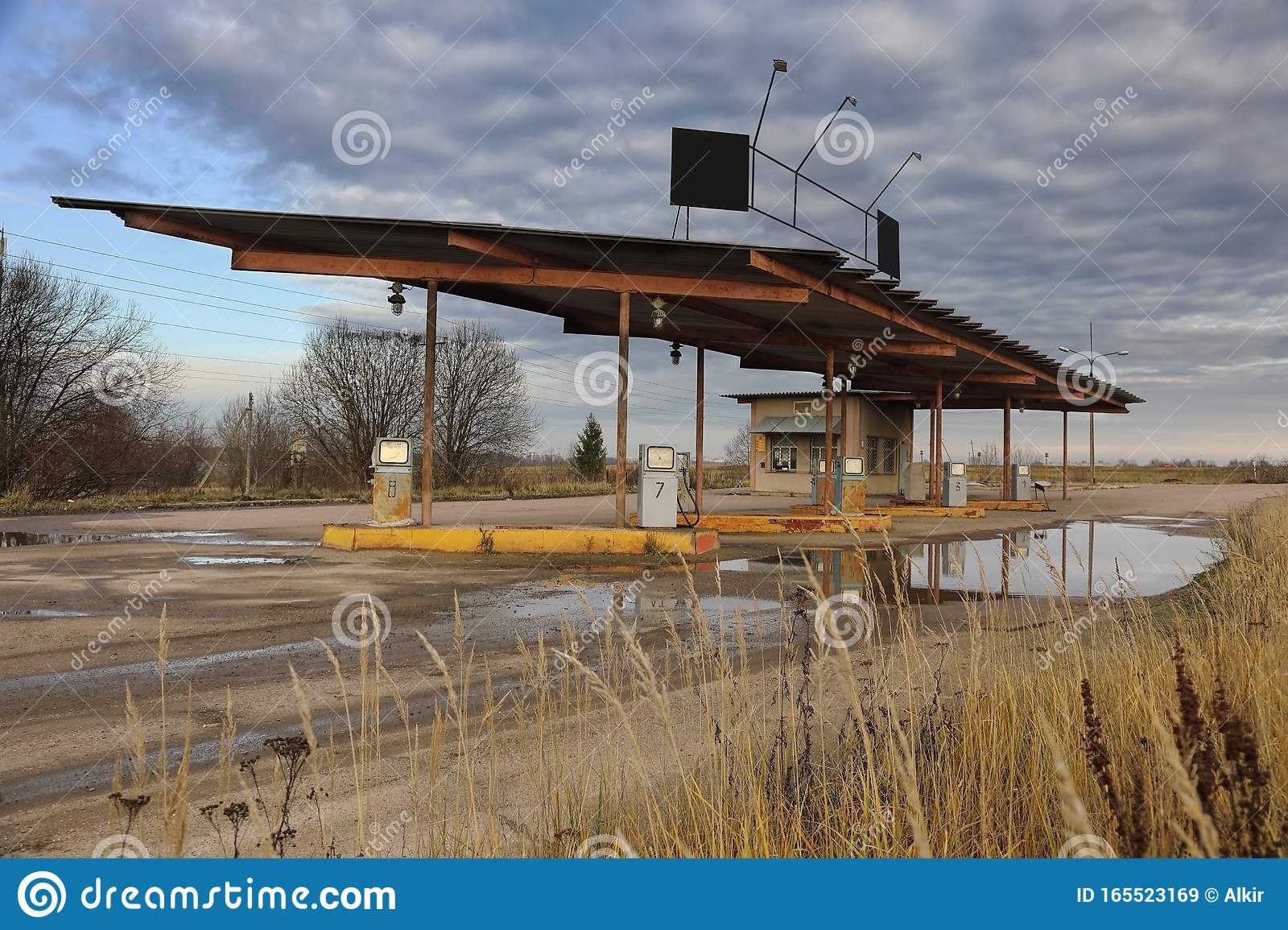 Abandoned Gas Station Against Dramatic Sky Stock Image Image Of Fuel Nature 165523169