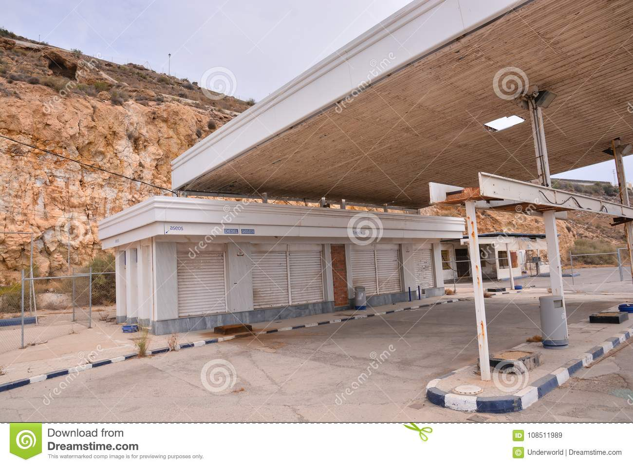 Abandoned Gas Station Along The Route 66 Stock Image Image Of California European 108511989