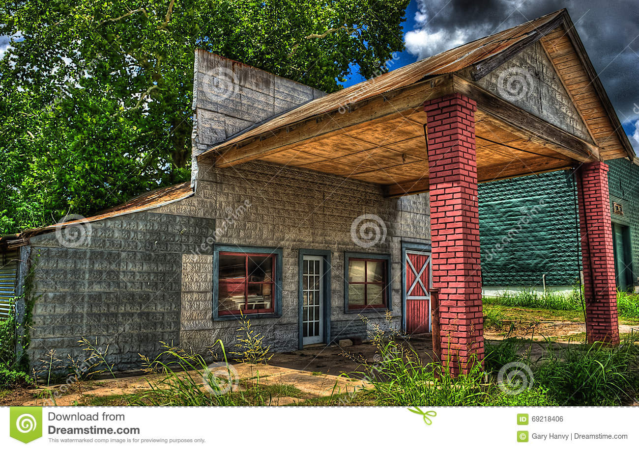 Abandoned Gas Station Burton Texas Stock Photo Image