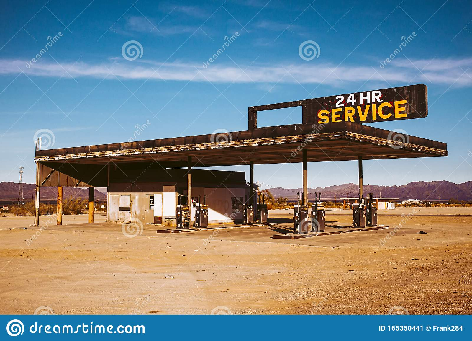 Abandoned Gas Station With Sign Reading 24 Hour Service Stock Image Image Of Hope Hopeless 165350441
