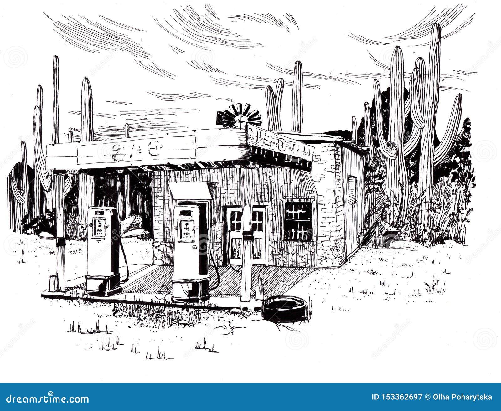 Abandoned Gas Station Sketch Stock Illustration Illustration Of Arizona Gasoline 153362697