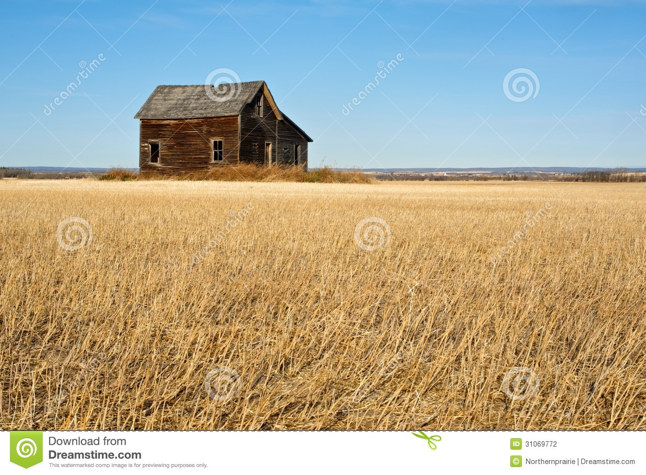 Abandoned House In Harvested Wheat Field In Fall Stock graphy Image
