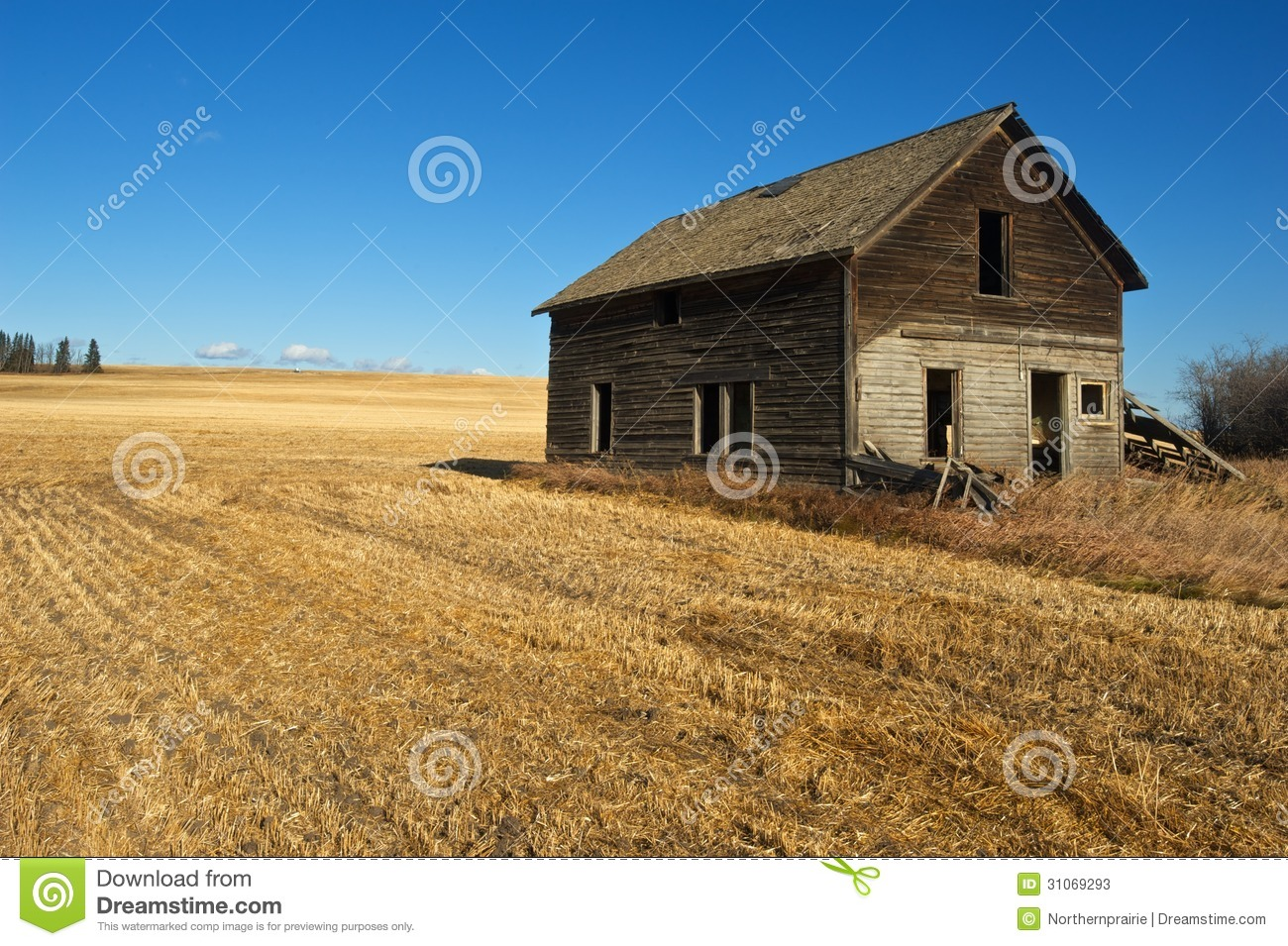Abandoned House Harvested Wheat Field