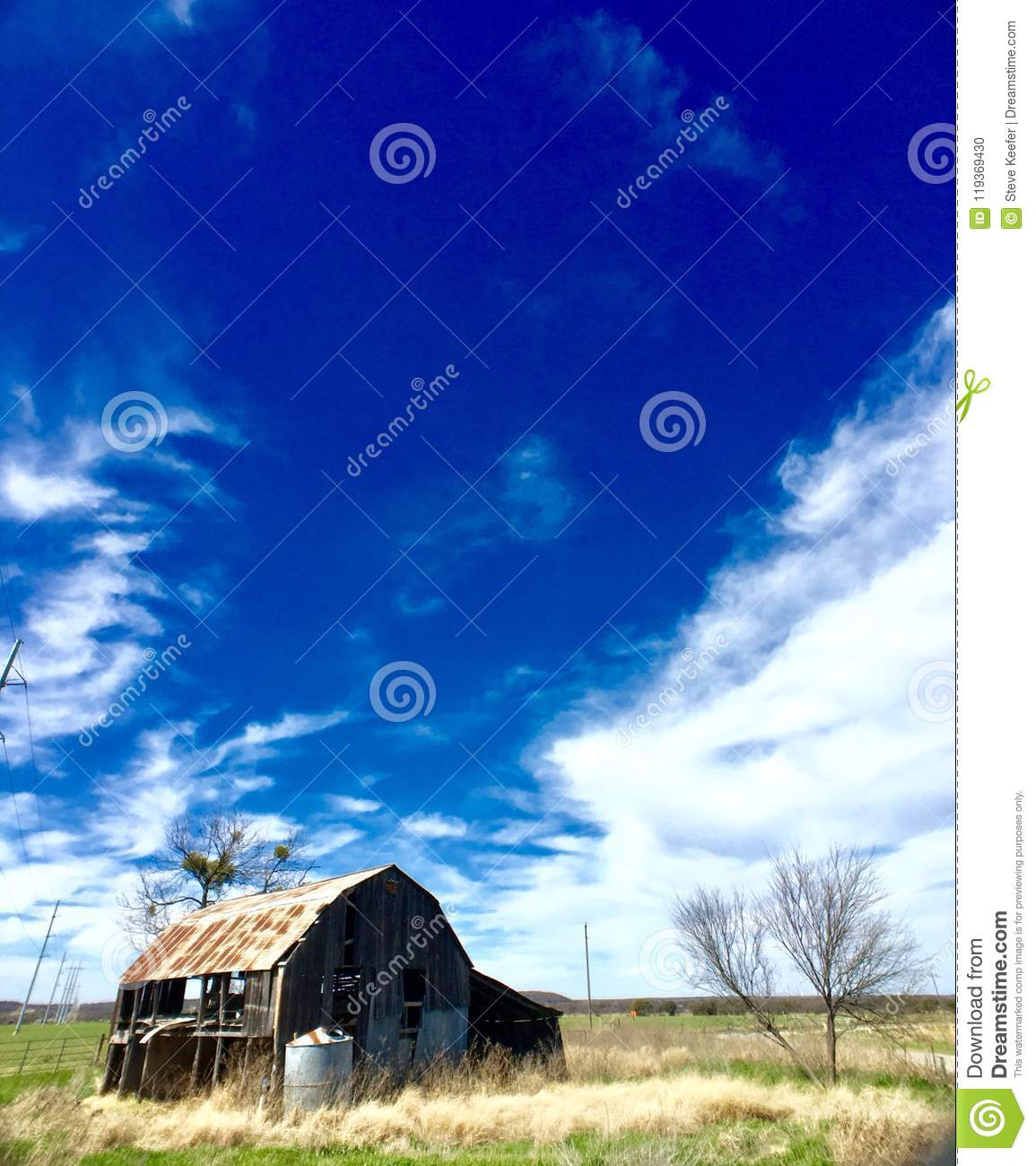 Rustic Building In Texas On An Abandoned Ranch Stock Photo
