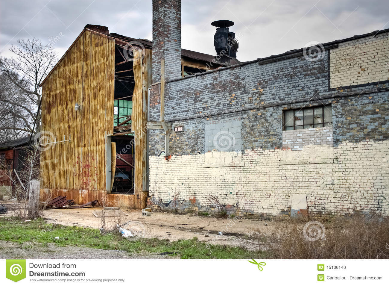 Abandoned Industrial Factory Warehouse Exterior Stock Photo Image 15136140