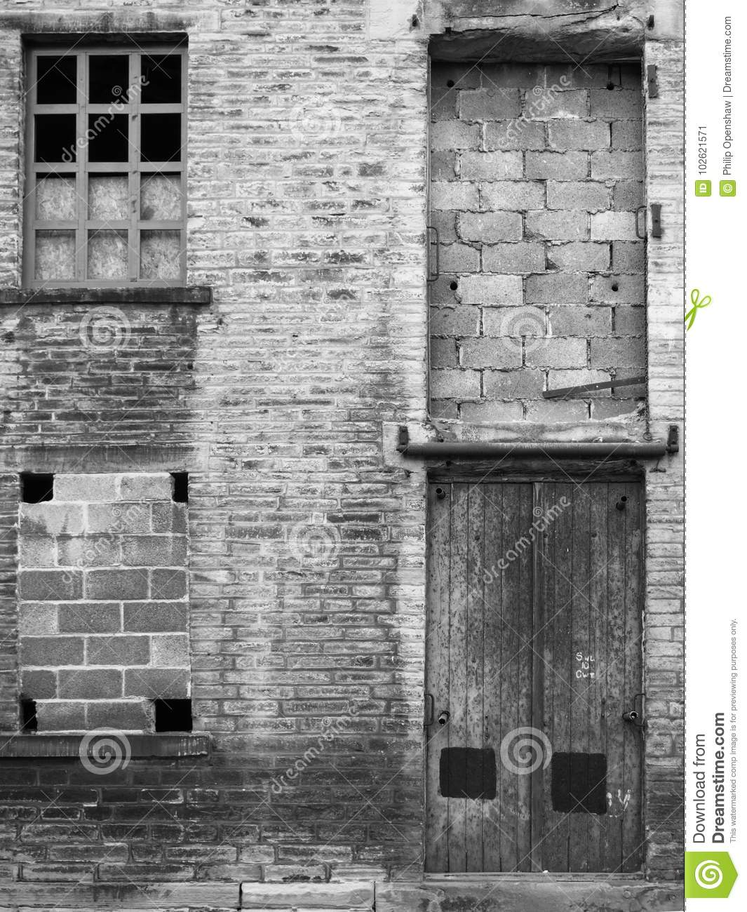 Abandoned Industrial Warehouse Building With Bricked Up