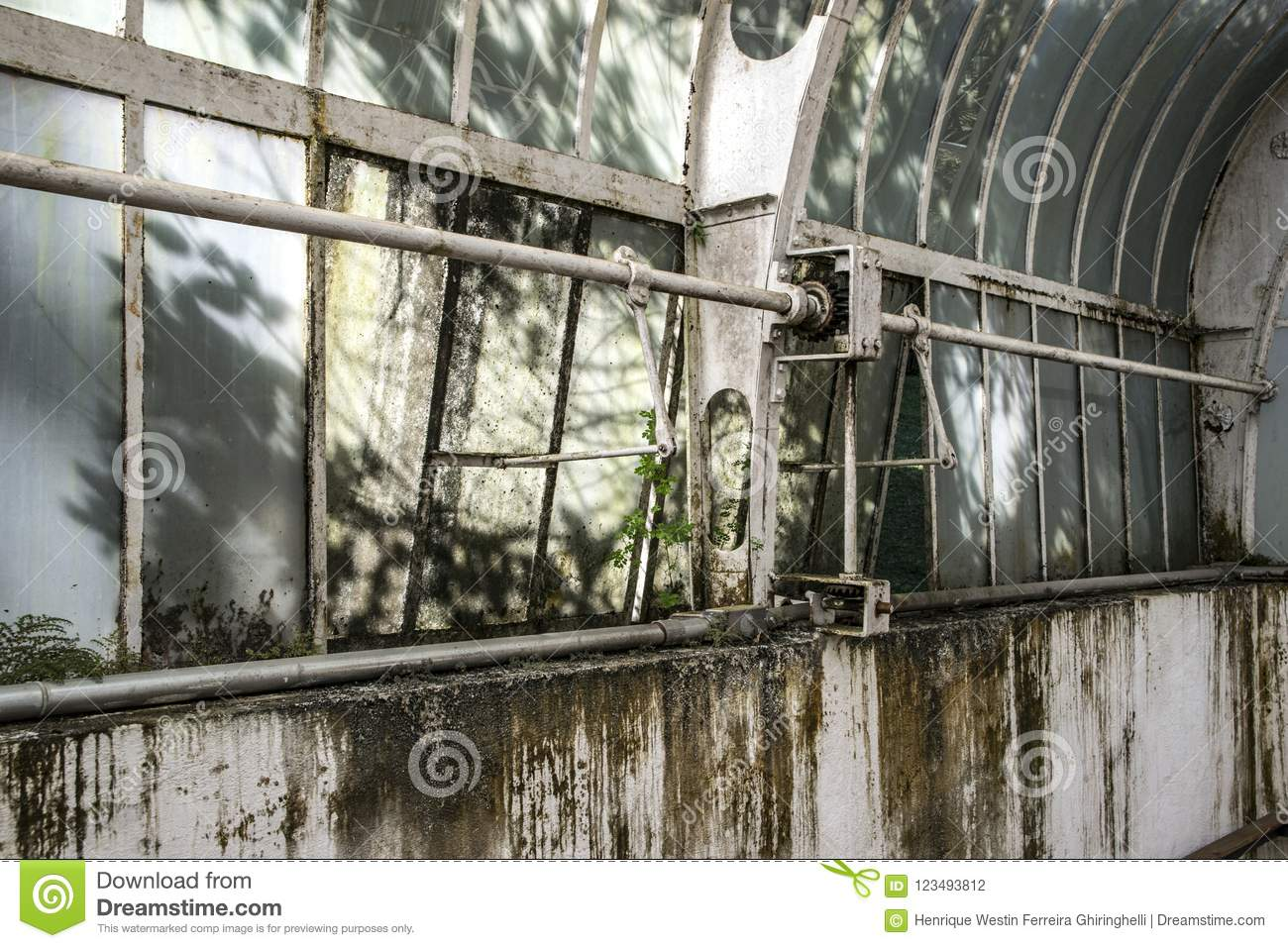 Abandoned story house inside view, ruins of industrial factory
