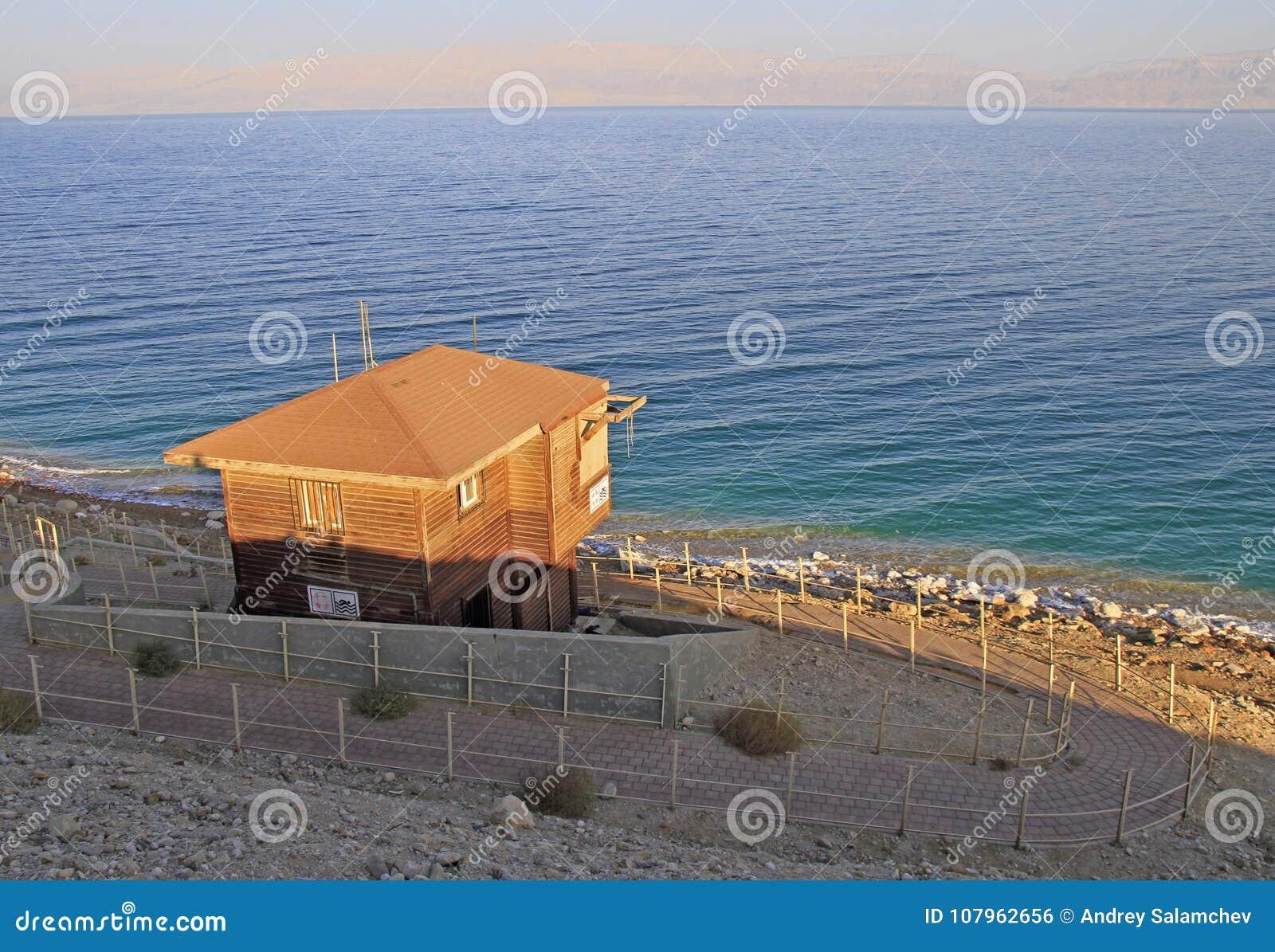 Abandoned Lifeguard Hut On The Coastline Of Dead Sea Stock Photo