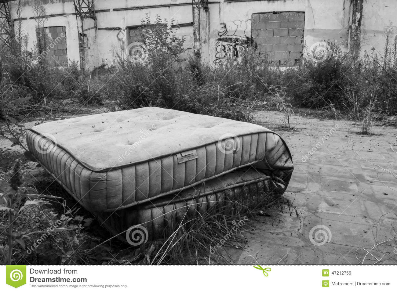 abandoned mattress stock photo image of obsolete mattress 47212756. Black Bedroom Furniture Sets. Home Design Ideas