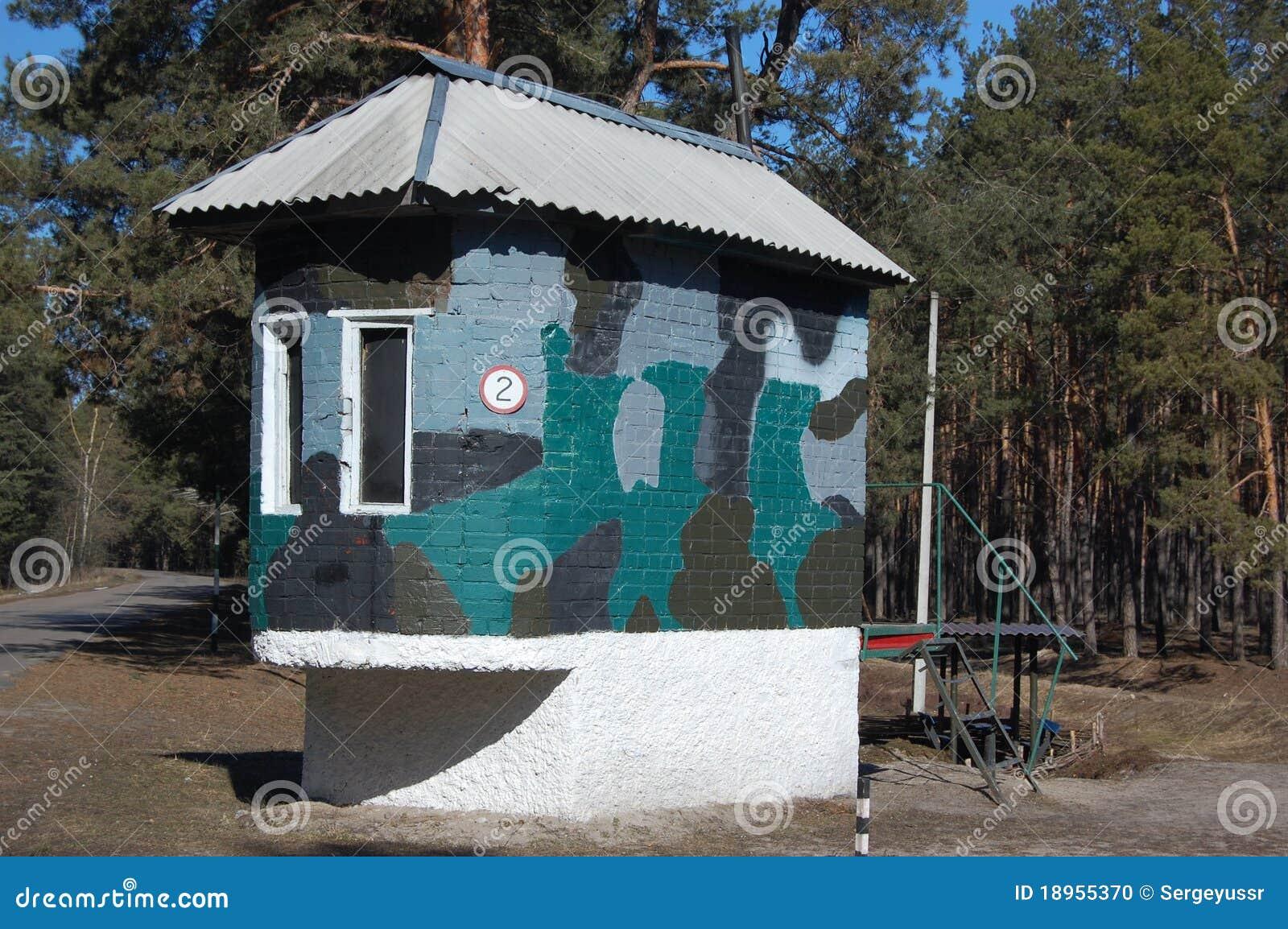 Abandoned military base checkpoint near Chernobyl alienation area
