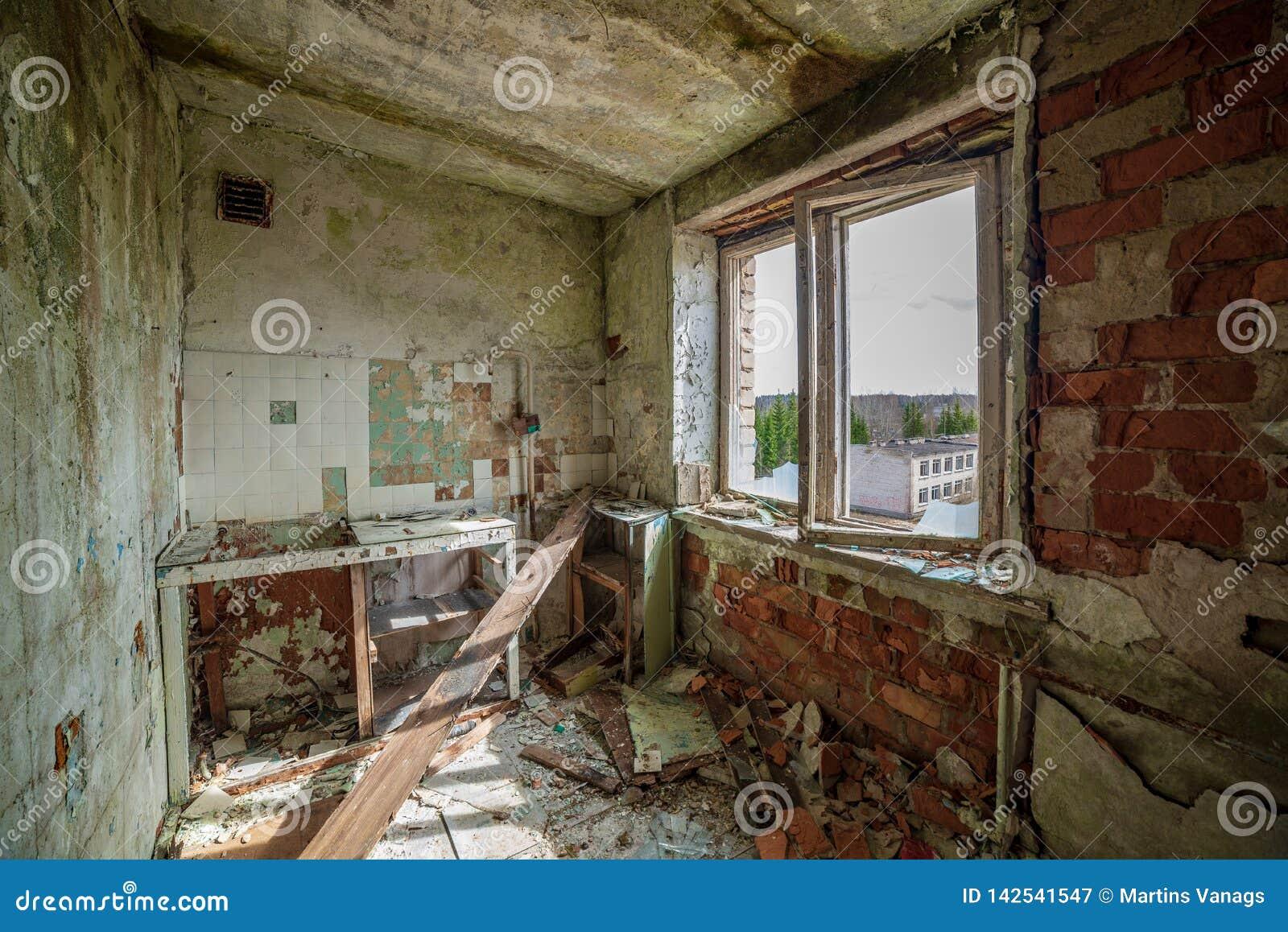abandoned military buildings in city of Skrunda in Latvia