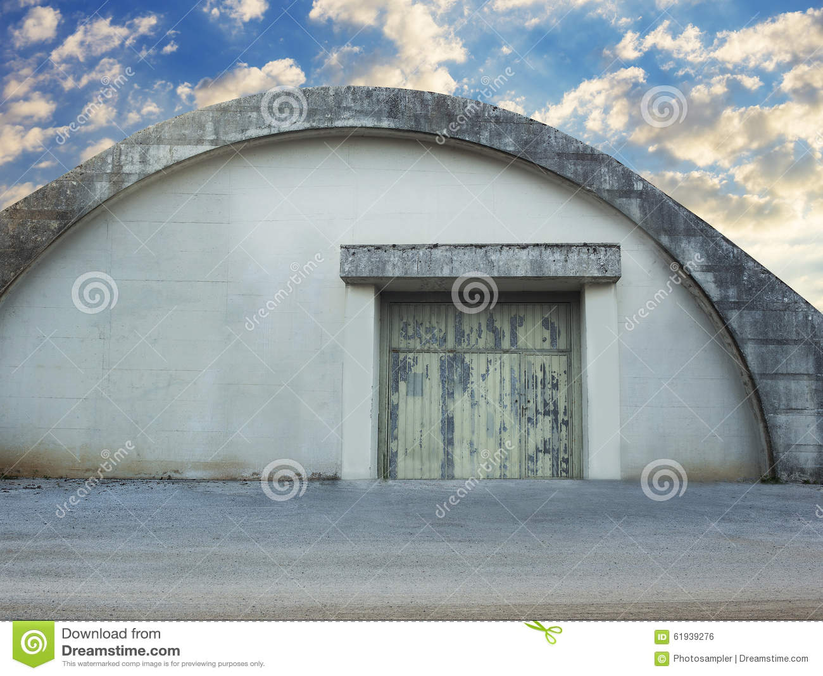 Abandoned Military Hangar Stock Photo