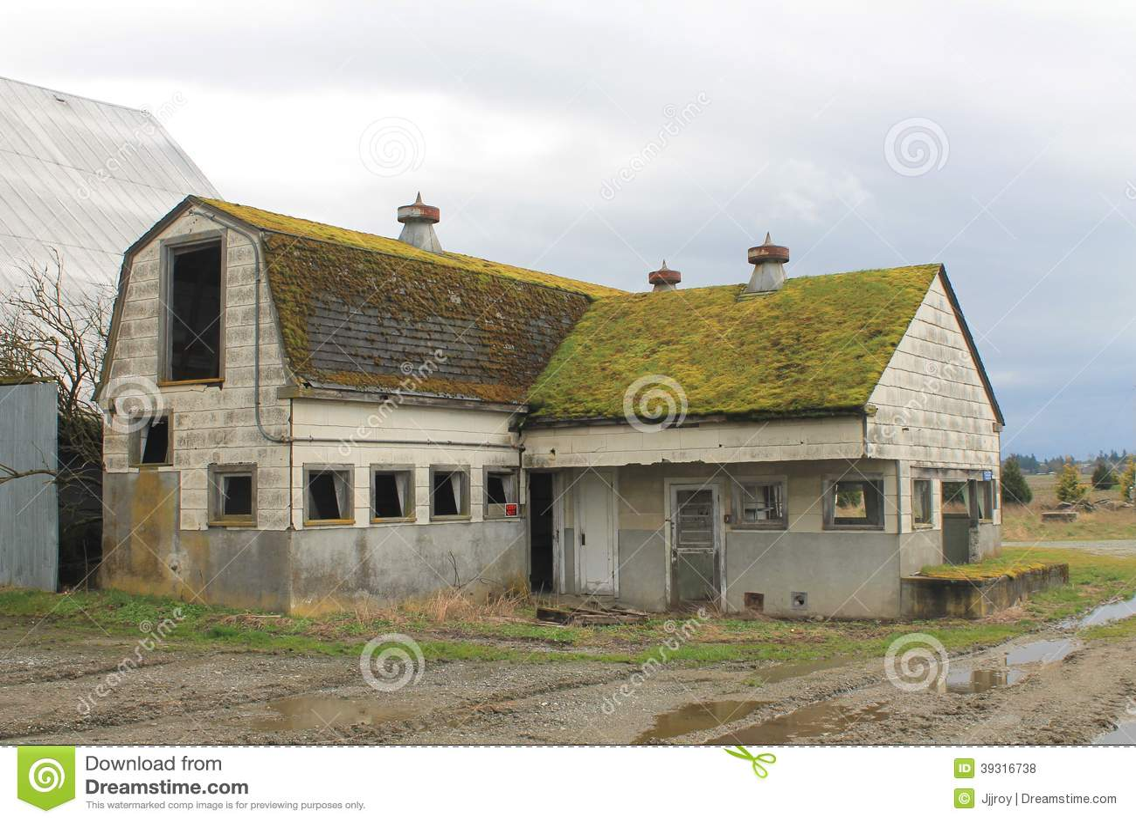 Abandoned Milk House And Dairy Barn Stock Photo Image