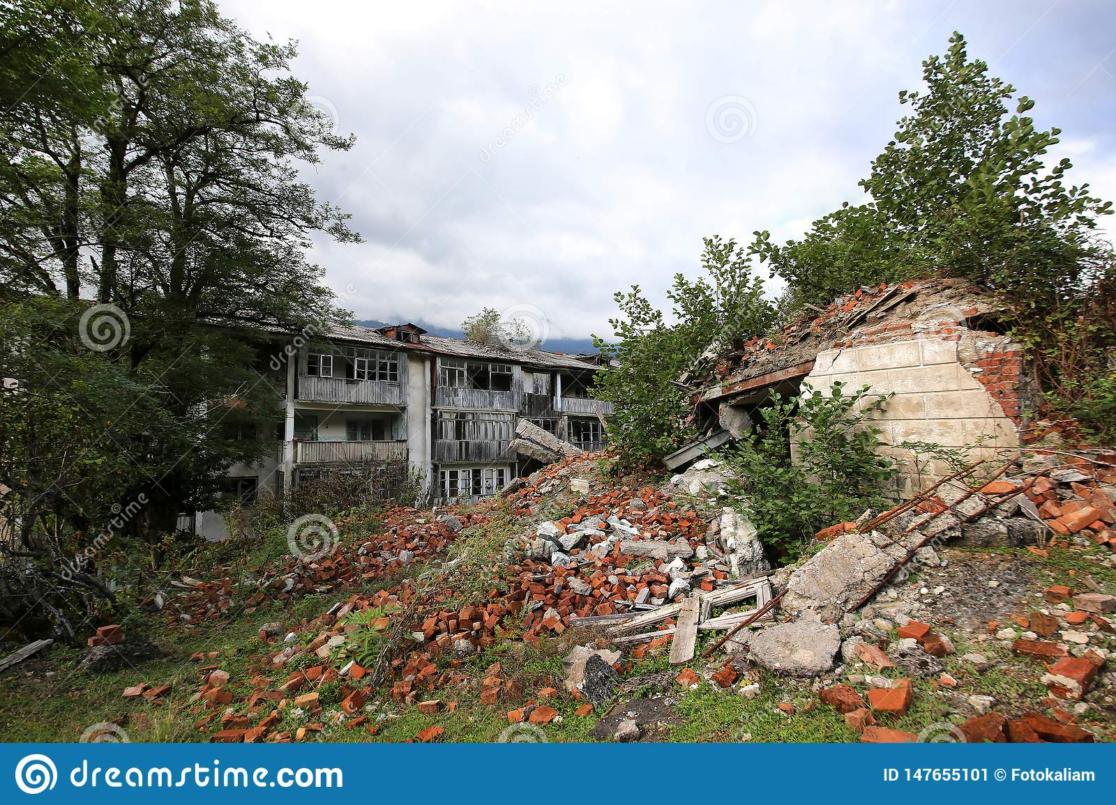 Abandoned mining village, destroyed during the Georgian-Abkhaz war in 1992