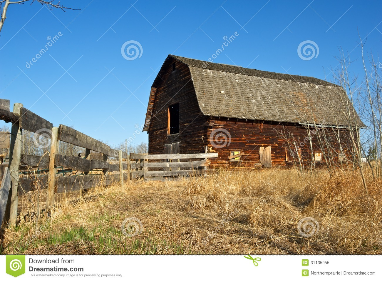 Abandoned Old Barn And Wooden Fence Stock Image - Image ...