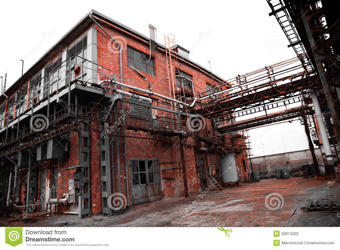 Building Exterior: Abandoned Old Chemical Factory Building Stock Image