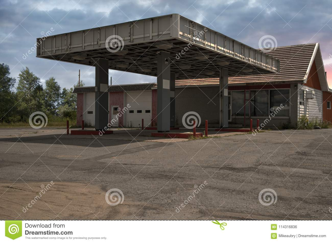 Abandoned Old Gas Station Sunny Summer Day Stock Photo Image Of People Station 114316836