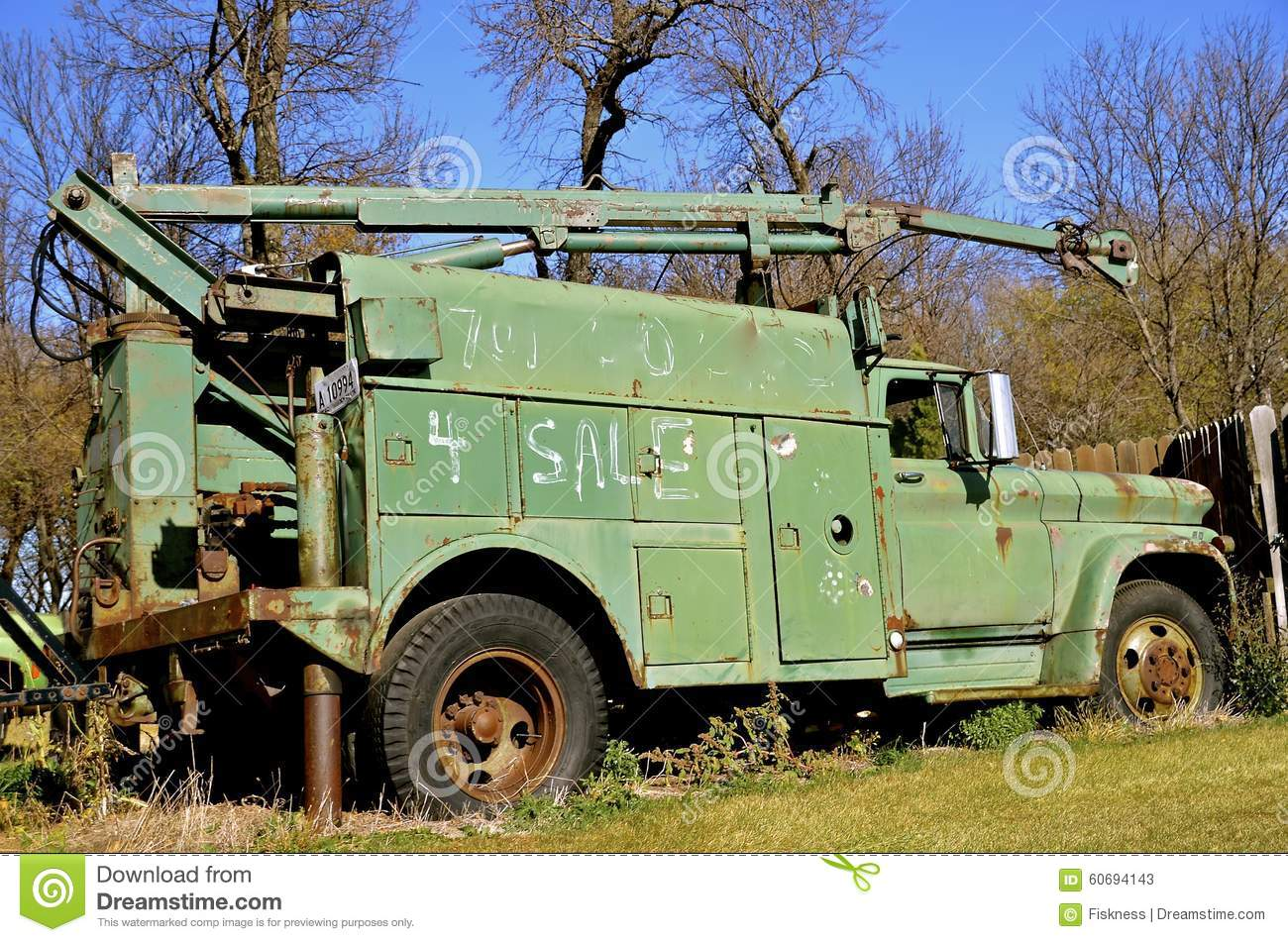 Abandoned Old Utility Truck Stock Image - Image of rusty, wench ...