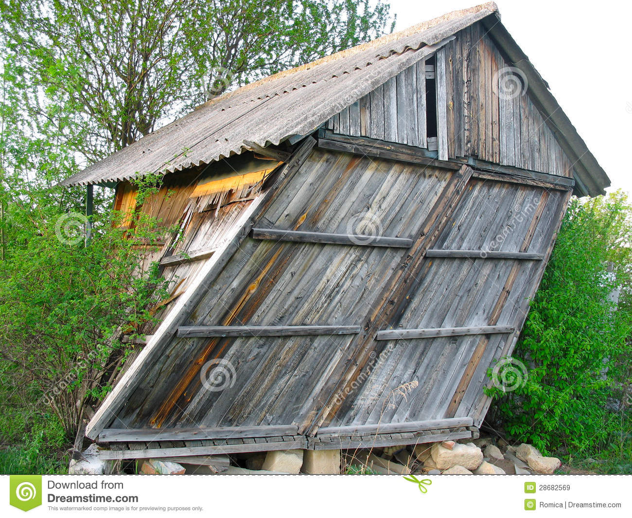 Abandoned old wooden small curved house royalty free stock for Small wooden house