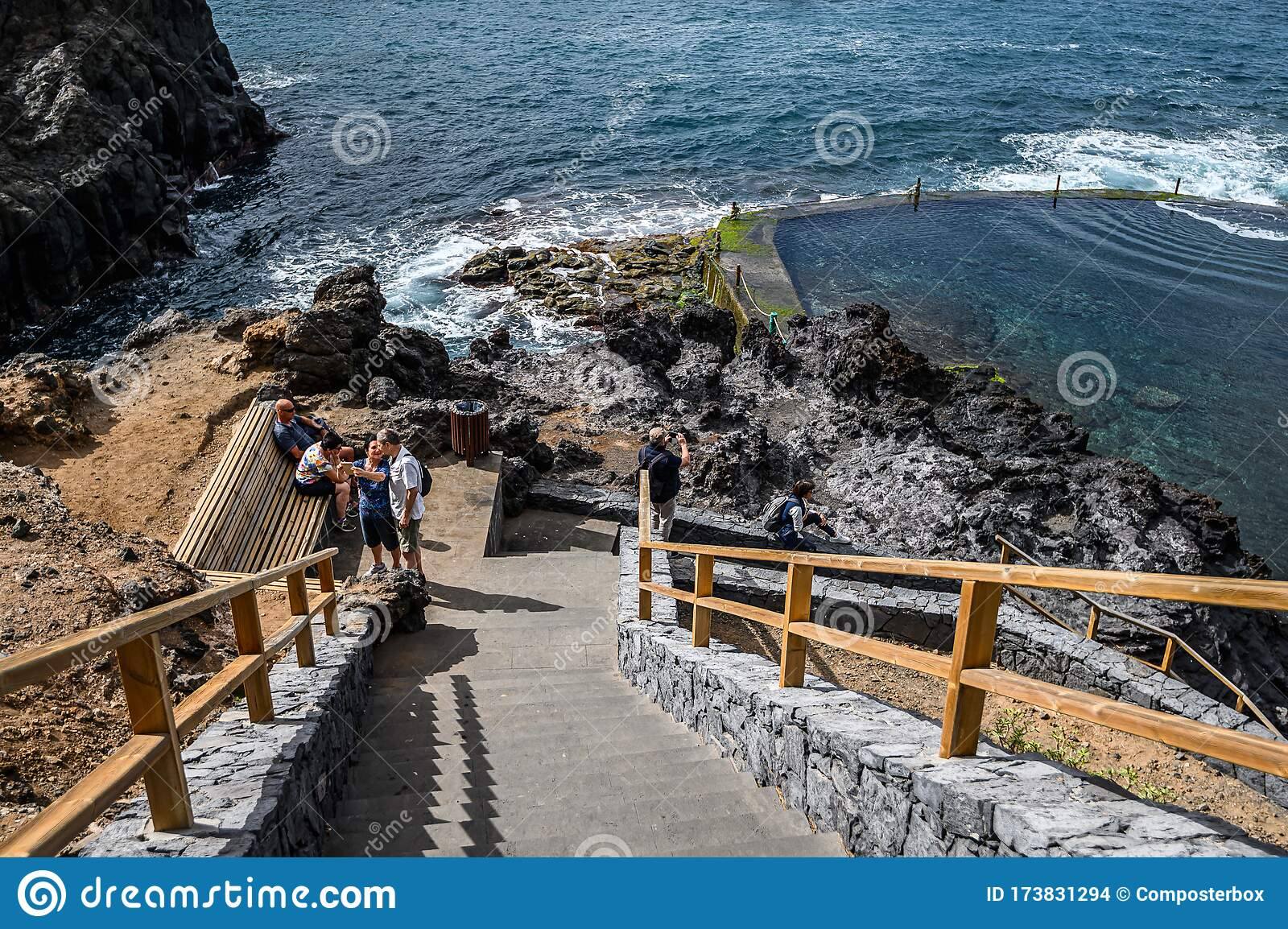 An Abandoned Outdoor Pool With Ocean Water On A Volcanic Coast Selective Focus 20 01 2020 Los Gigantes Tenerife Editorial Stock Image Image Of Rock Scenery 173831294