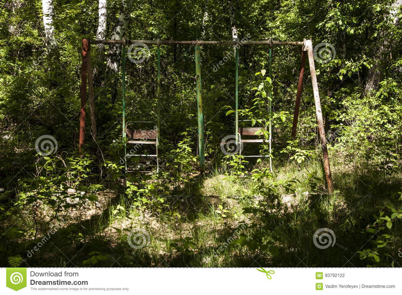 Abandoned Playground In Forest Stock Photo Image Of Outdoor Wood 93792122