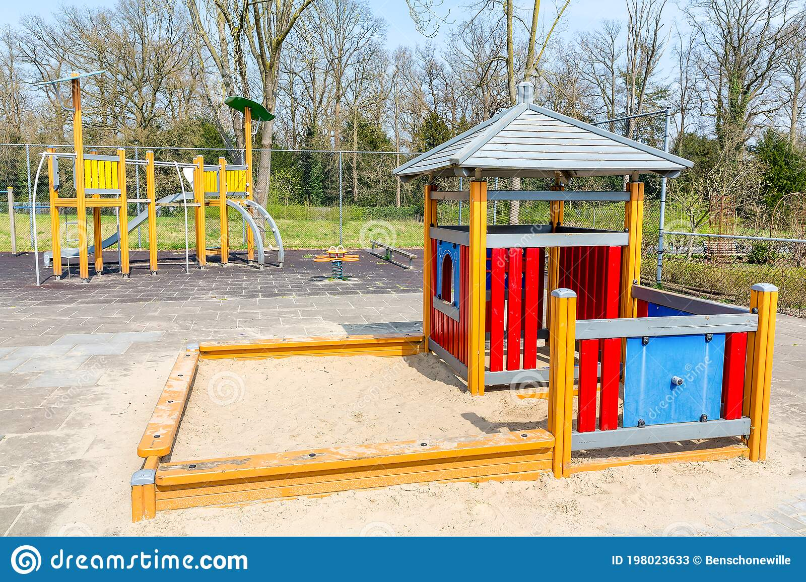 Abandoned Playground With Play Equipment Stock Image Image Of Slide European 198023633