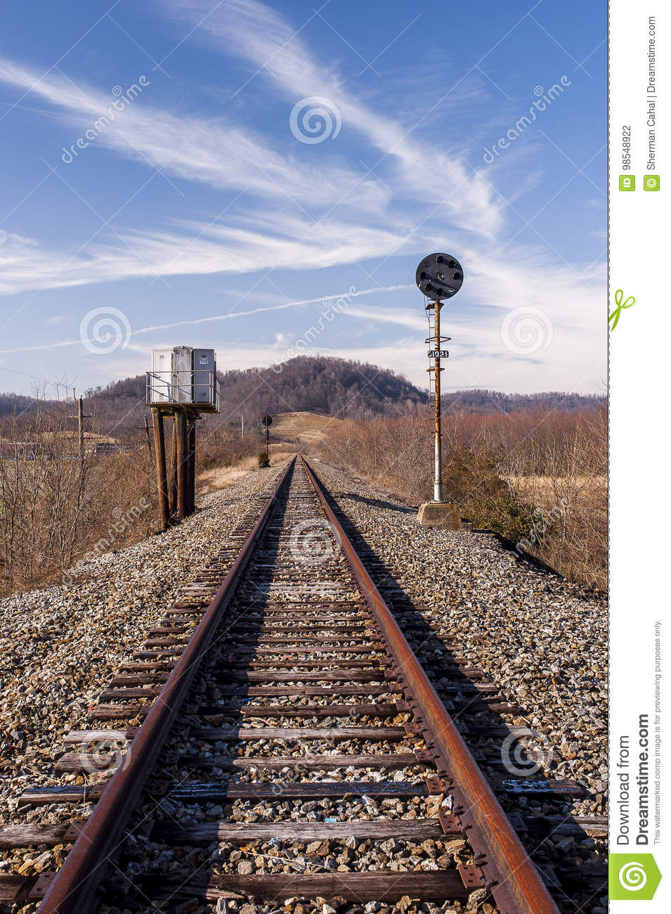 Abandoned Railroad Signal - Track View Stock Photo - Image