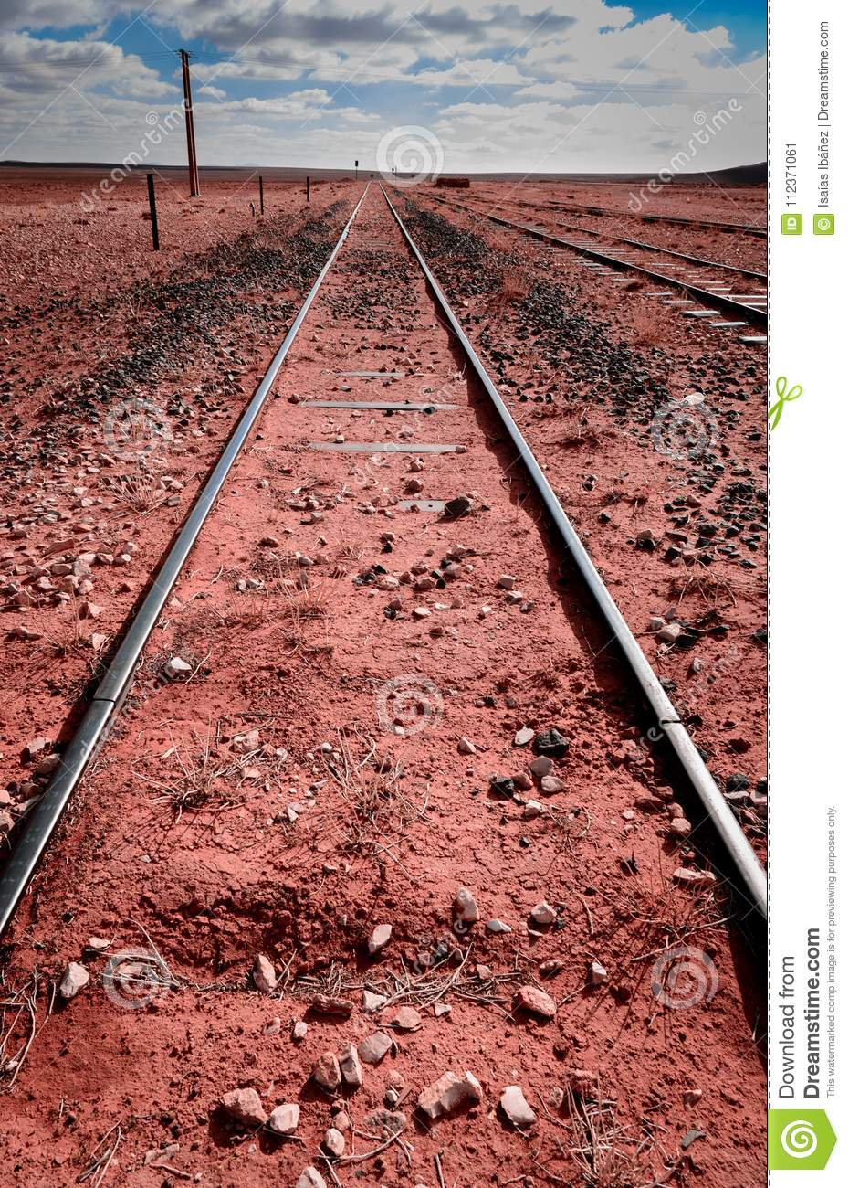 Converging Railroad Tracks stock image. Image of parallel