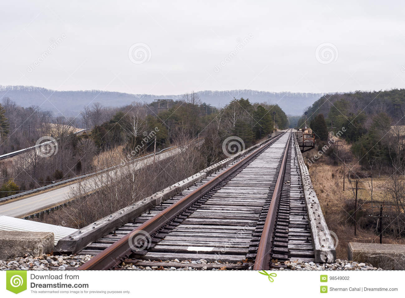 Abandoned Railroad - Track View On Cloudy AfternoonBridge Stock