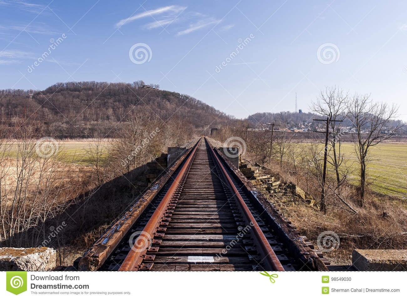 Abandoned Railroad - Track View Stock Photo - Image of park