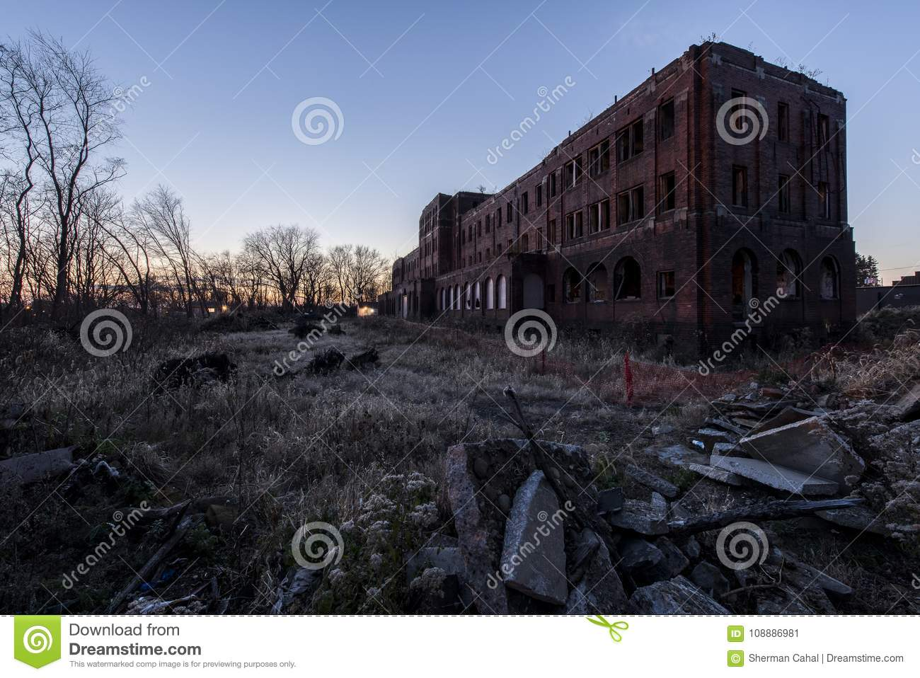 Abandoned Railroad YMCA At Sunset - Canton, Ohio Stock Image