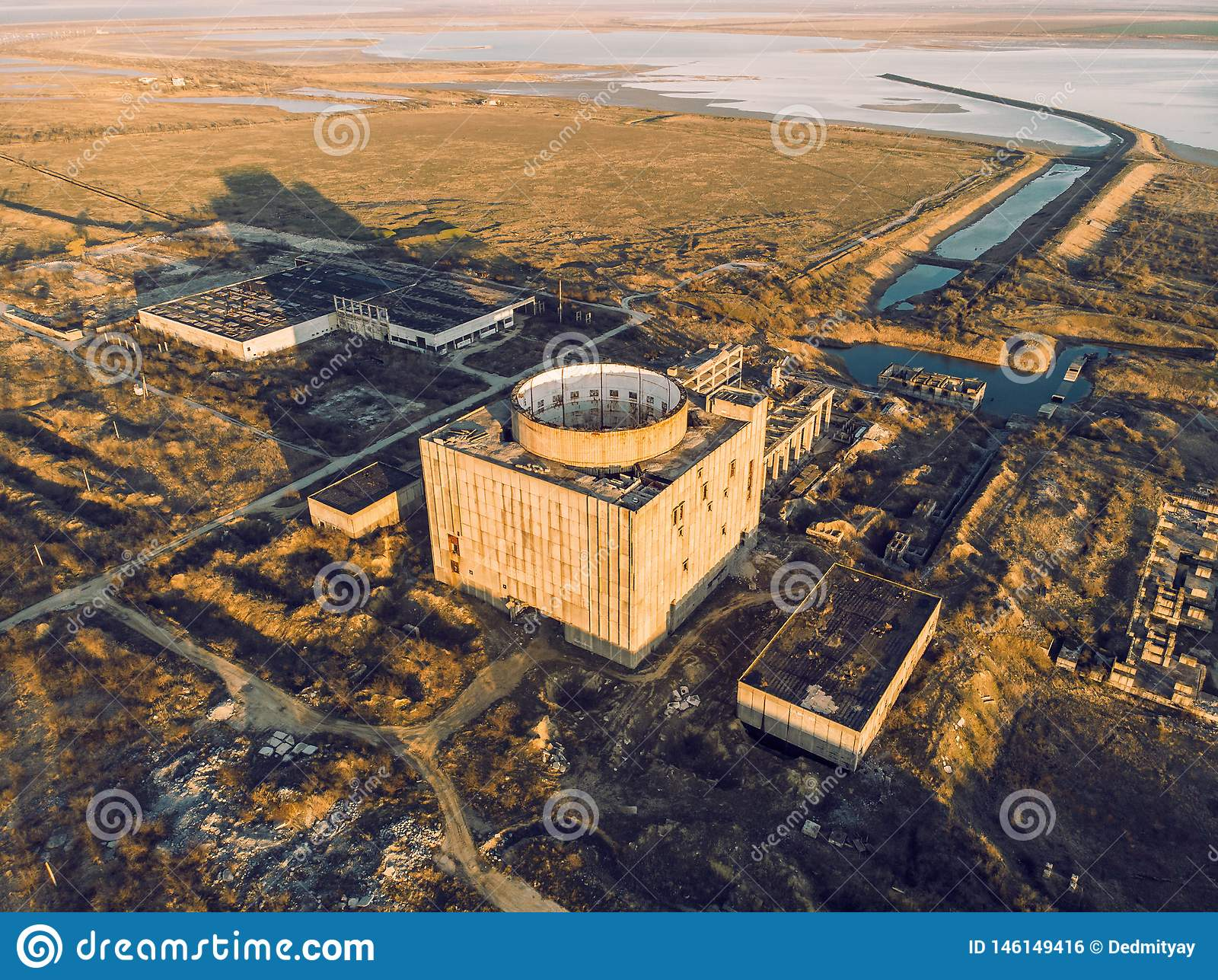 Abandoned And Ruined Nuclear Power Plant In Shelkino Crimea Industrial Construction With Round Tower Of Atomic Reactor Stock Photo Image Of Generator Generation 146149416