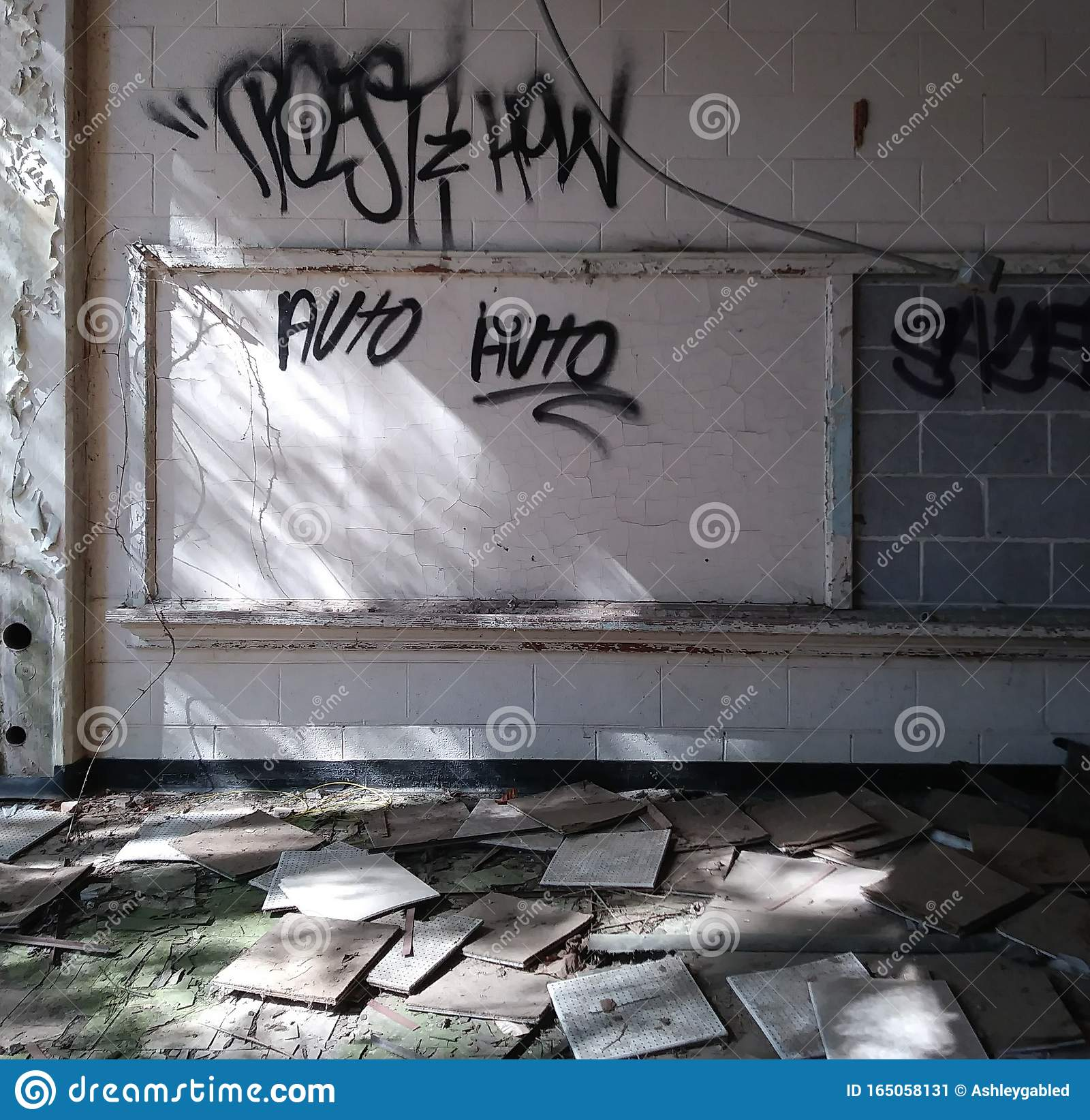 Abandoned School Classroom And Graffiti. Stock Image