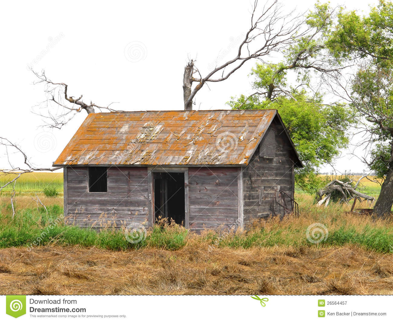 Abandoned shack in a prairie field