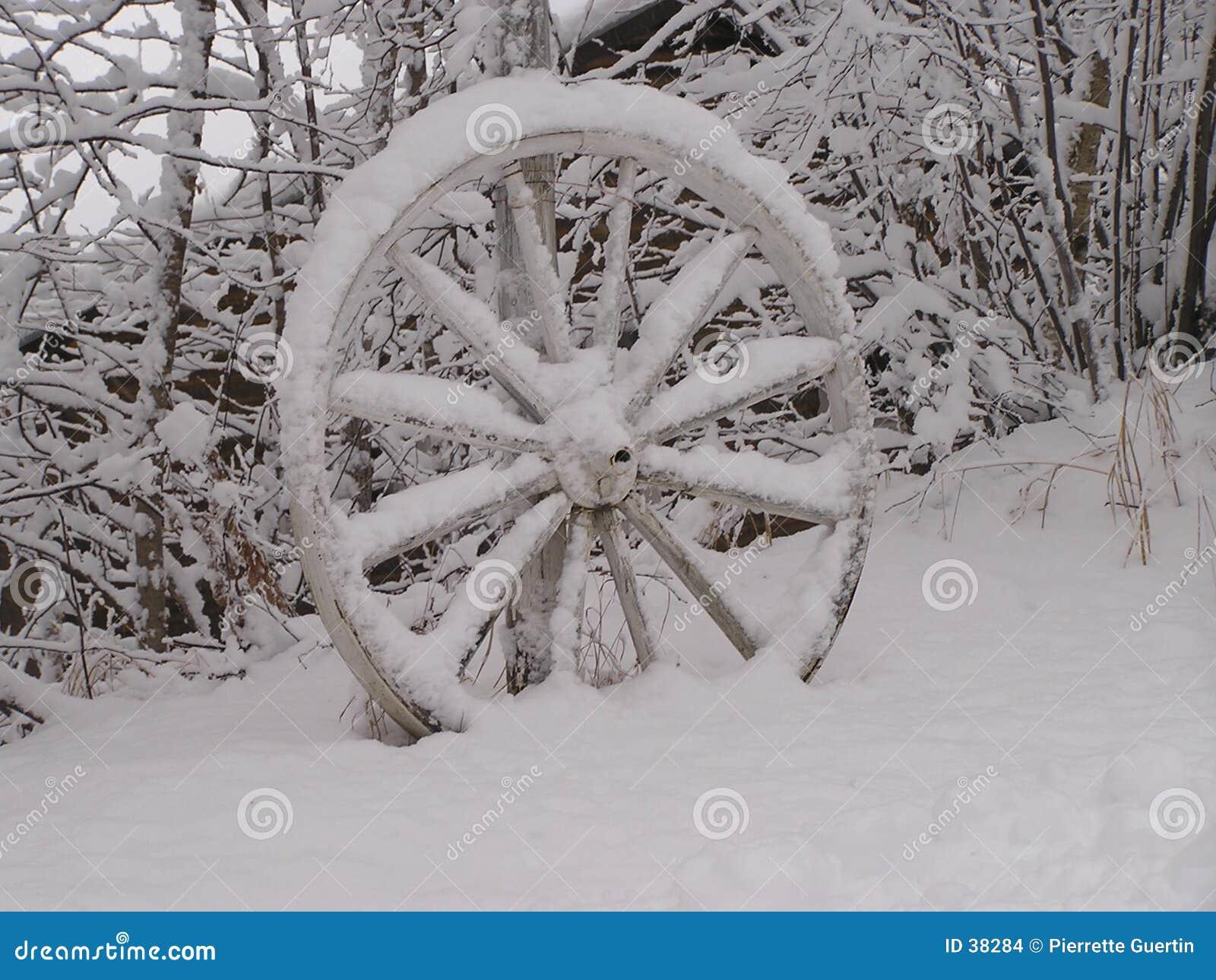 Abandoned wagon wheel