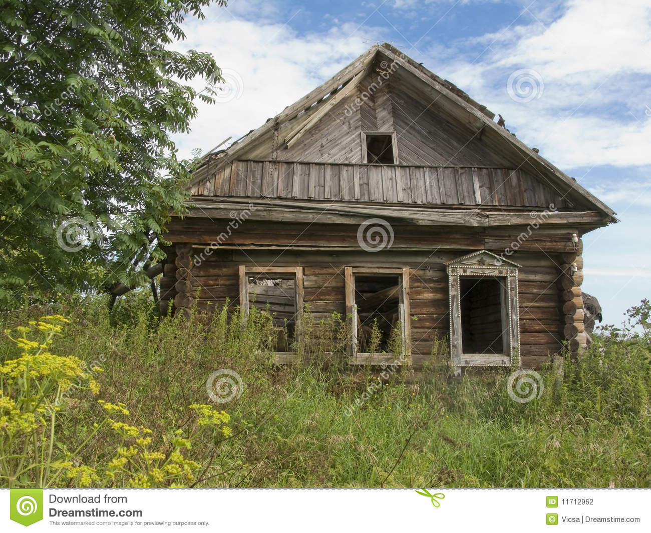 Abandoned wooden house in russian village stock photo for Dream wooden house