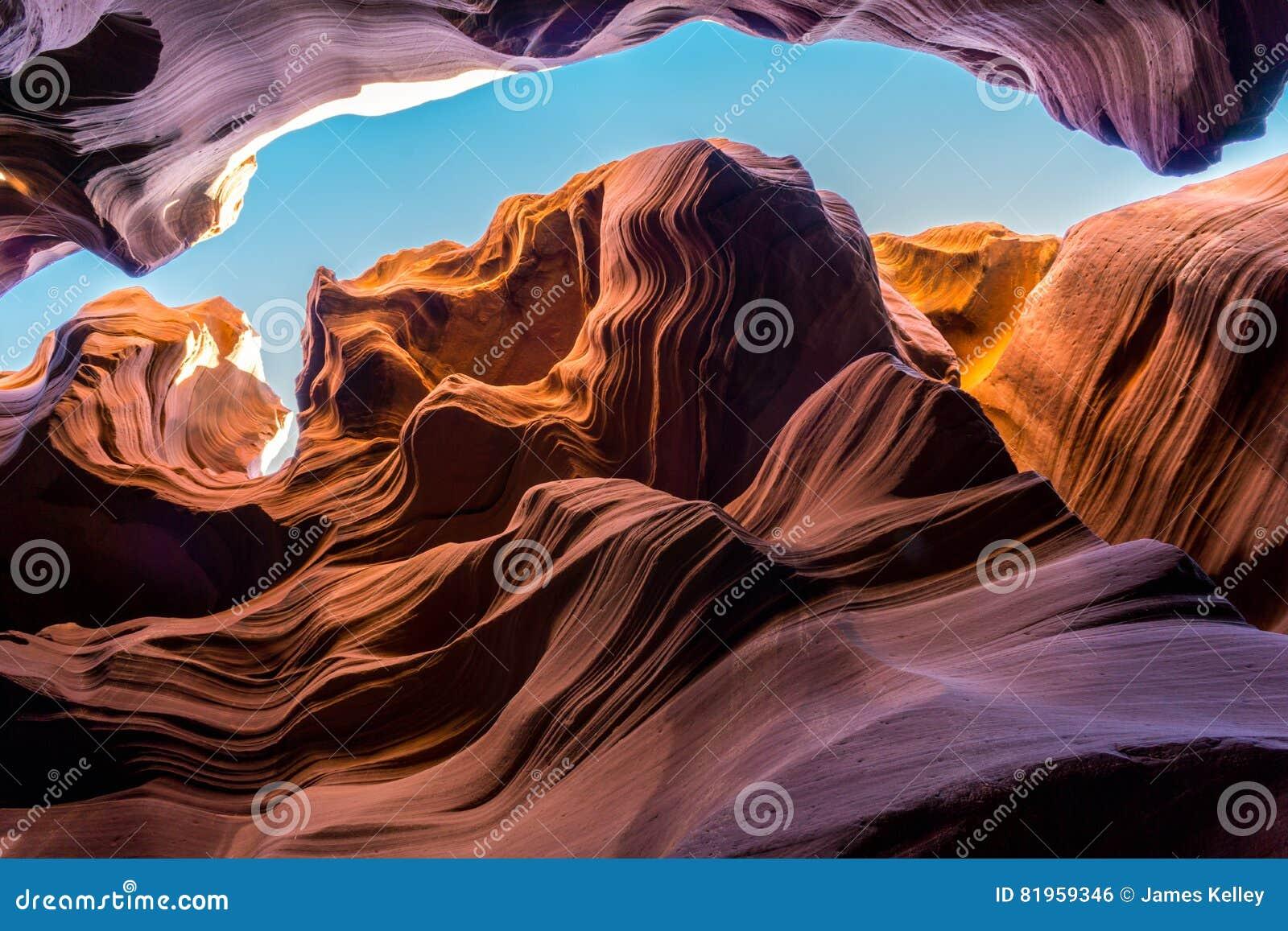 Abbassi il canyon dell antilope - il canyon della scanalatura, Arizona