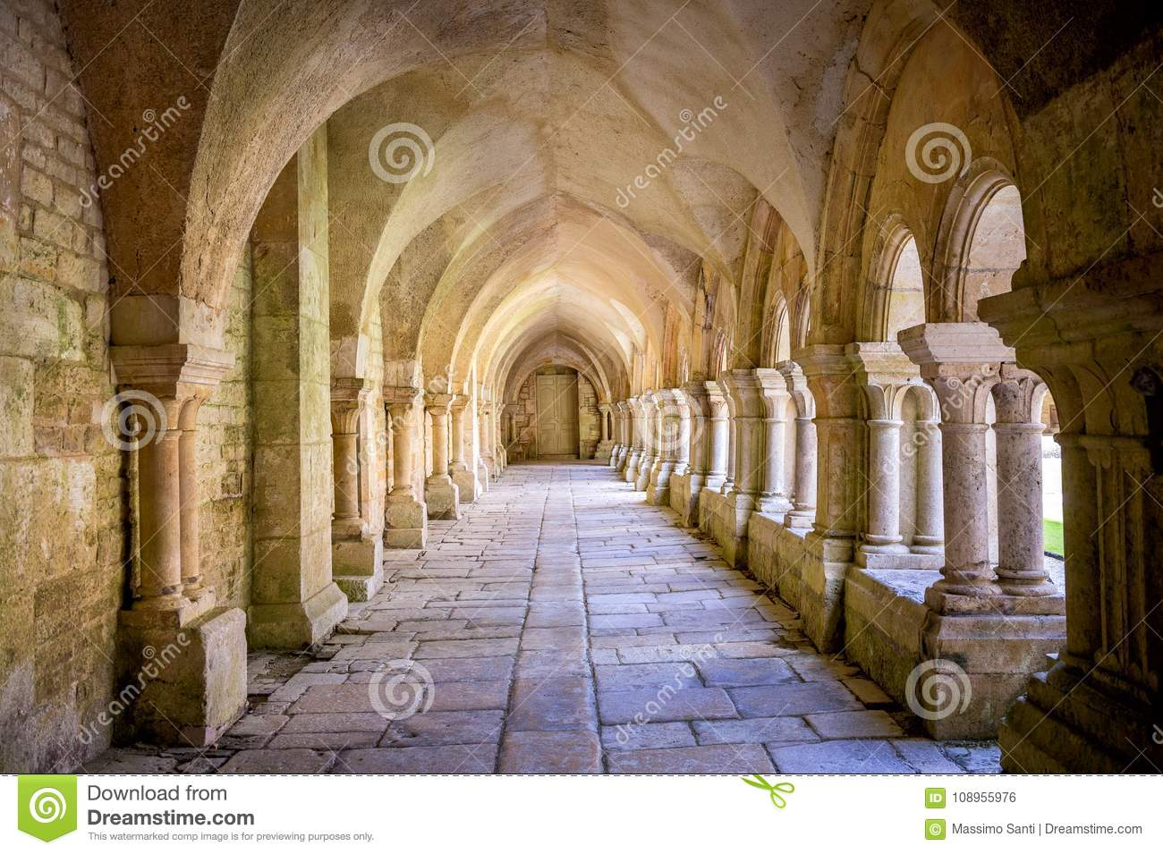 Abbey of Fontenay, Burgundy, France. Interior of famous Cistercian Abbey of Fontenay, a UNESCO World Heritage Site since 1981
