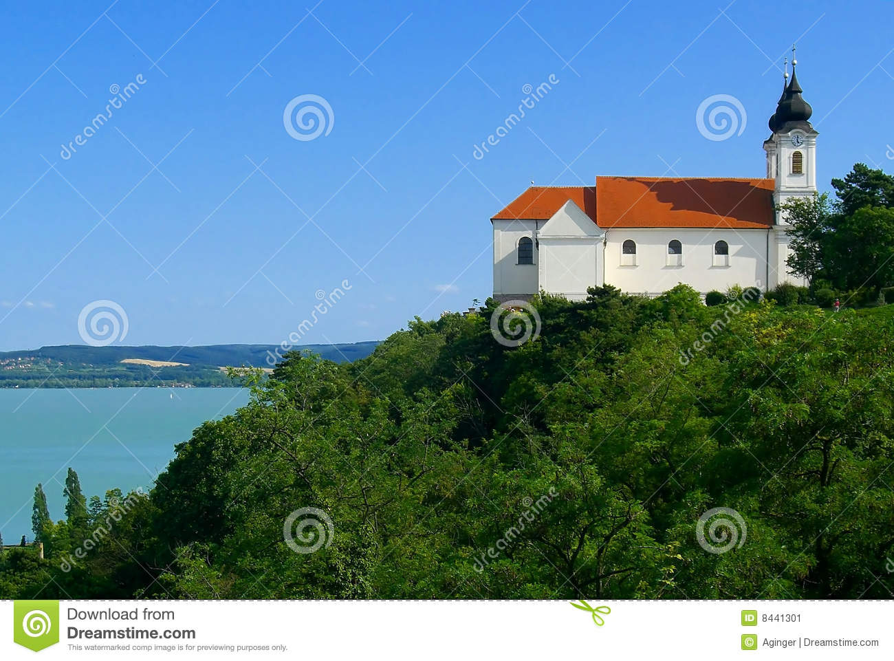 Abbey in Tihany with lake Balaton