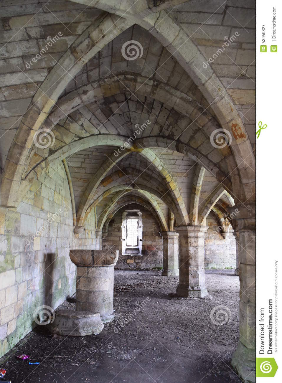 Abbey undercroft with rib vaulted ceiling