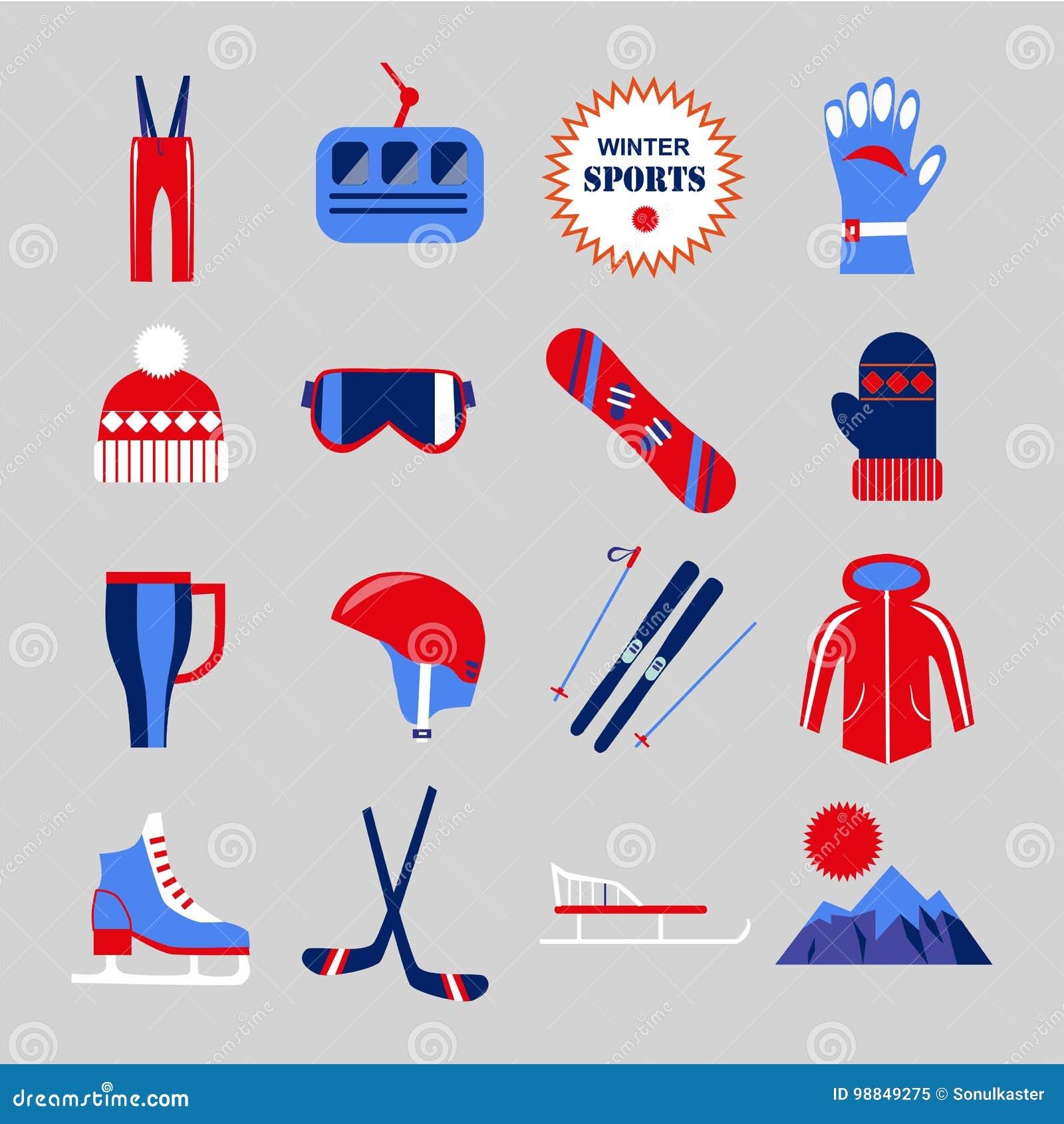 Abbigliamento Degli Sport Invernali O Icone Piane Pattinanti