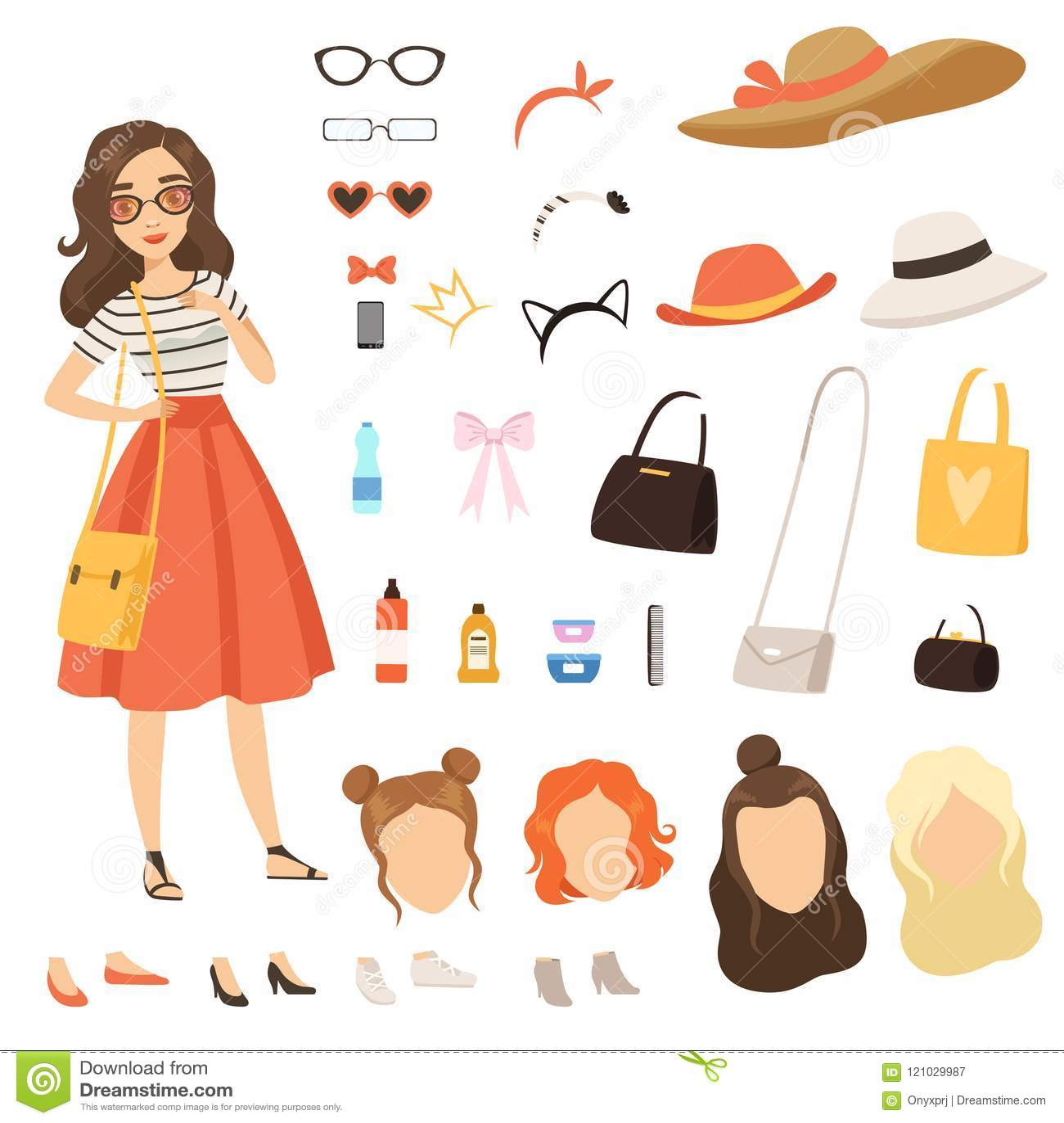 3494110bb11b Abbigliamento della ragazza alla moda Carattere femminile del fumetto con i  vari accessori e vestiti di